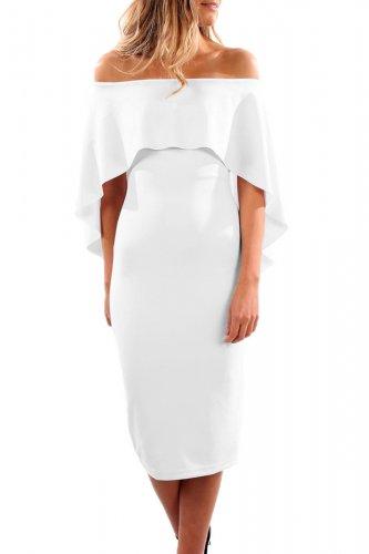 White Luxurious Off Shoulder Batwing Cape Midi Dress