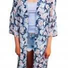 Dark Blue Floral Side Slit Boho Kimono