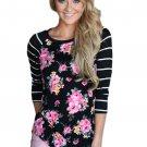 Black Striped Sleeves Floral Top