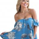 Turquoise Floral Off Shoulder Blouse