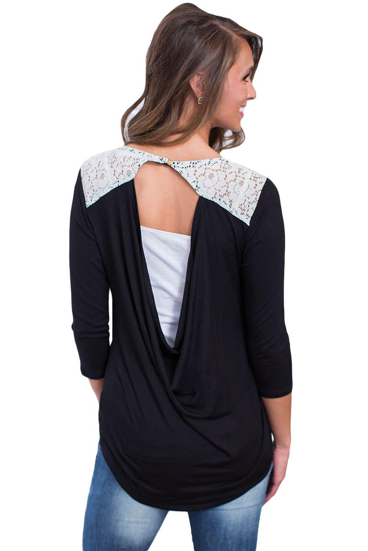 Black Lace Shoulder Low Cut Back Top