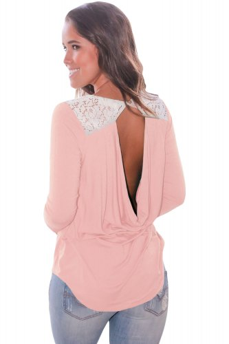 Pink Lace Shoulder Low Cut Back Top