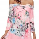 Pink Floral Off Shoulder Crisscross Top