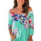 Mint Floral Off Shoulder Crisscross Top