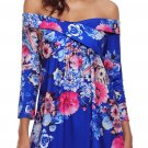Blue Floral Off Shoulder Crisscross Top