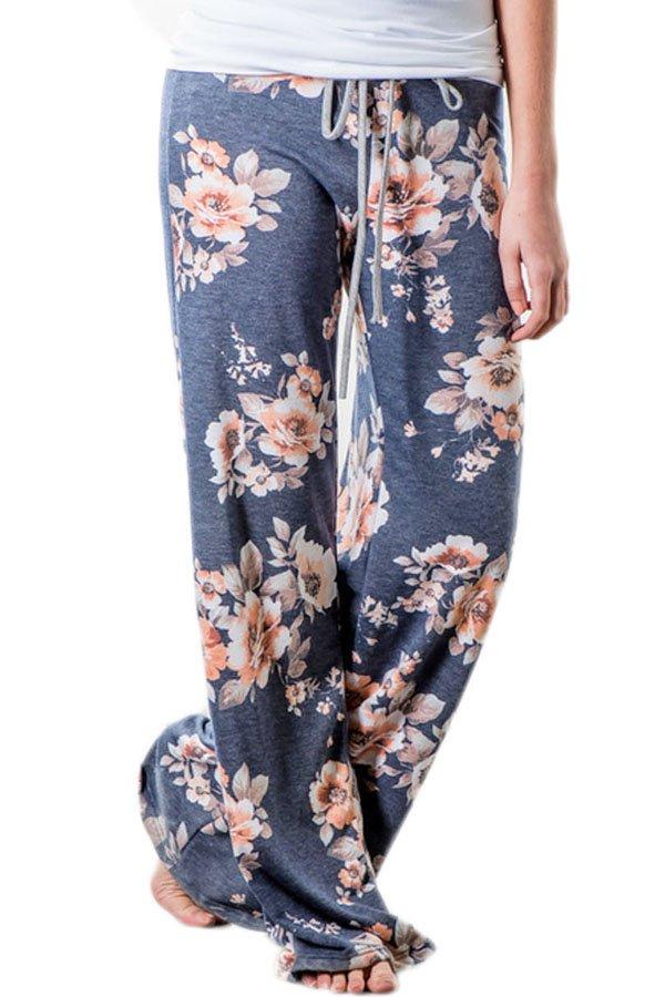 Deep Grey Floral Terry Wide Leg Pants
