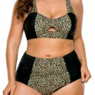 Grey Leopard Splice Curvy High Waist Swimsuit
