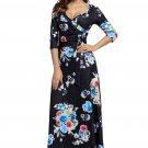 Black Floral Print Wrapped Long Boho Dress