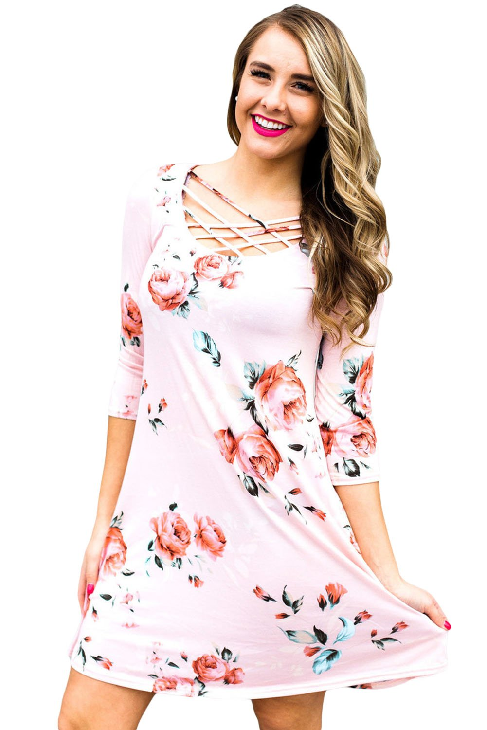 Pink Fence Neck Floral Print T Shirt Dress