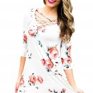 White Fence Neck Floral Print T Shirt Dress