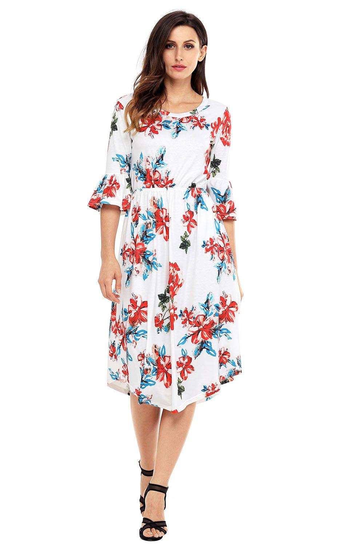 White 3/4 Bell Sleeve Floral Midi Dress