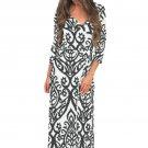 White Black Damask Print Wrap V Neck Boho Dress