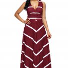 Wine V Neck Cut out Back Printed Maxi Dress