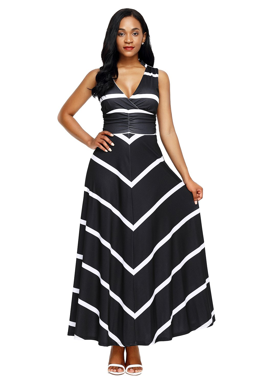 Black V Neck Cut out Back Printed Maxi Dress
