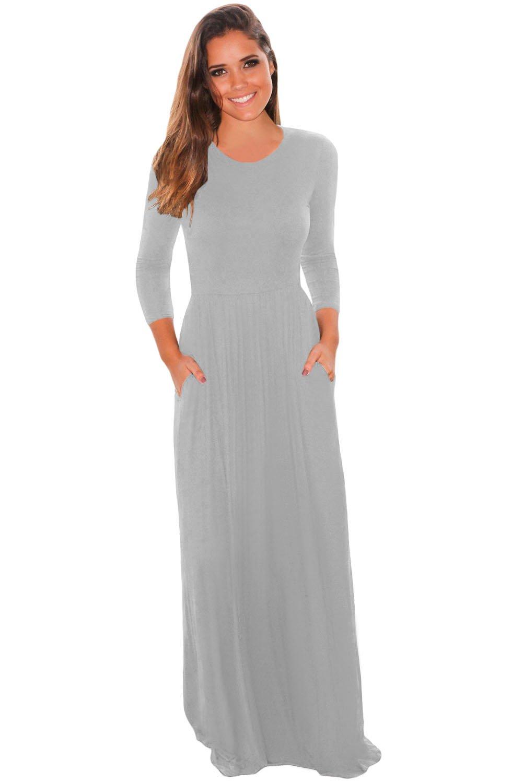 Grey Pocket Design 3/4 Sleeves Maxi Dress