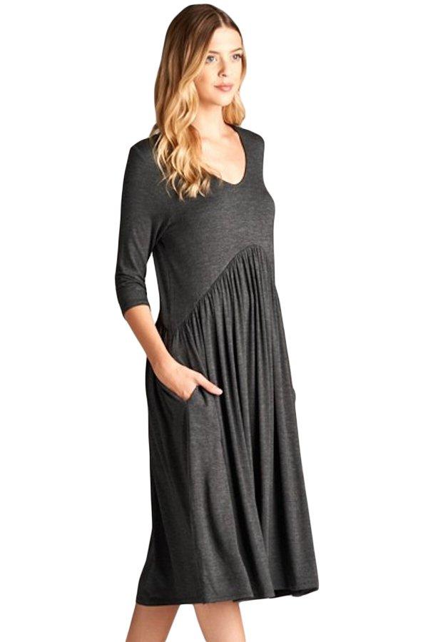 Gray 3/4 Sleeve Draped Swing Dress