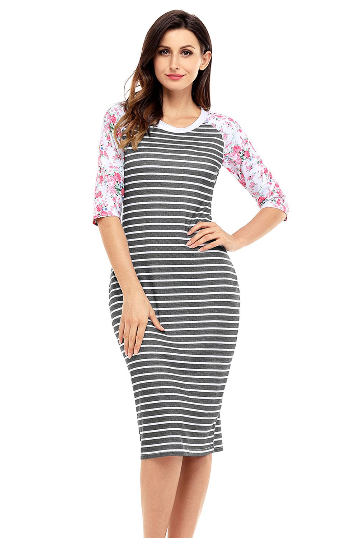 Black White Stripe Floral Sleeve Midi Dress