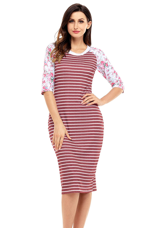 Wine White Stripe Floral Sleeve Midi Dress