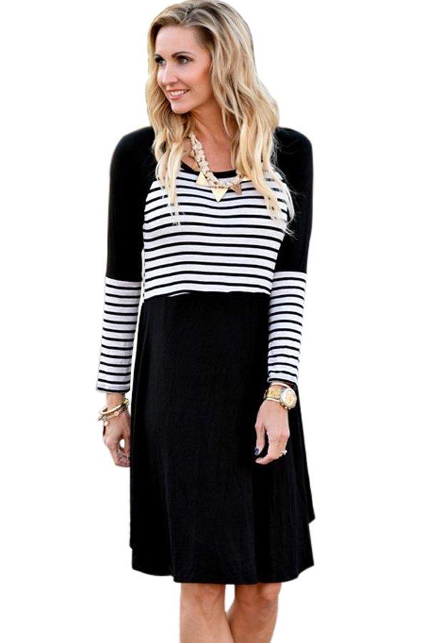 Black Chic Blocked Stripe Jersey Dress