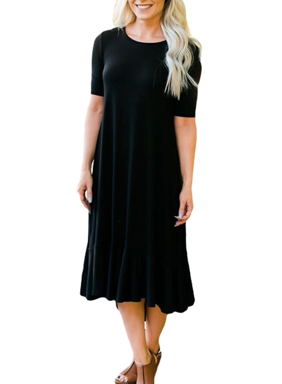 Black Flowy Ruffles Short Sleeve Casual Dress