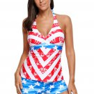 Patriot American Flag Pattern Halter Tankini Swimsuit