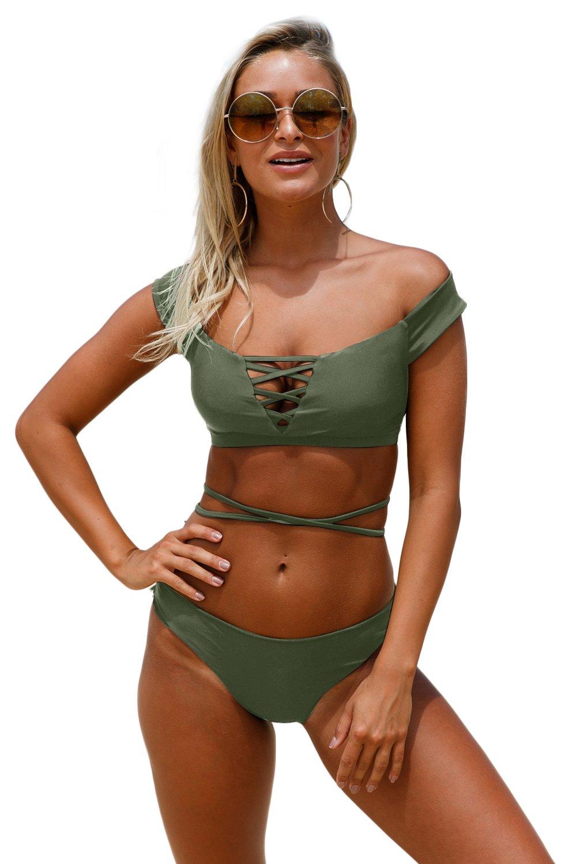 Army Green Strappy Crisscross 2pcs Tankini Swimsuit