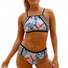 2pcs Floral Strappy High Neck Bathing Suit