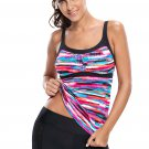 Stylish Fuzzy Rainbow Tankini Swim Top