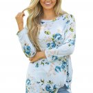 Light Blue Long Sleeve Knotted Floral Print Blouse