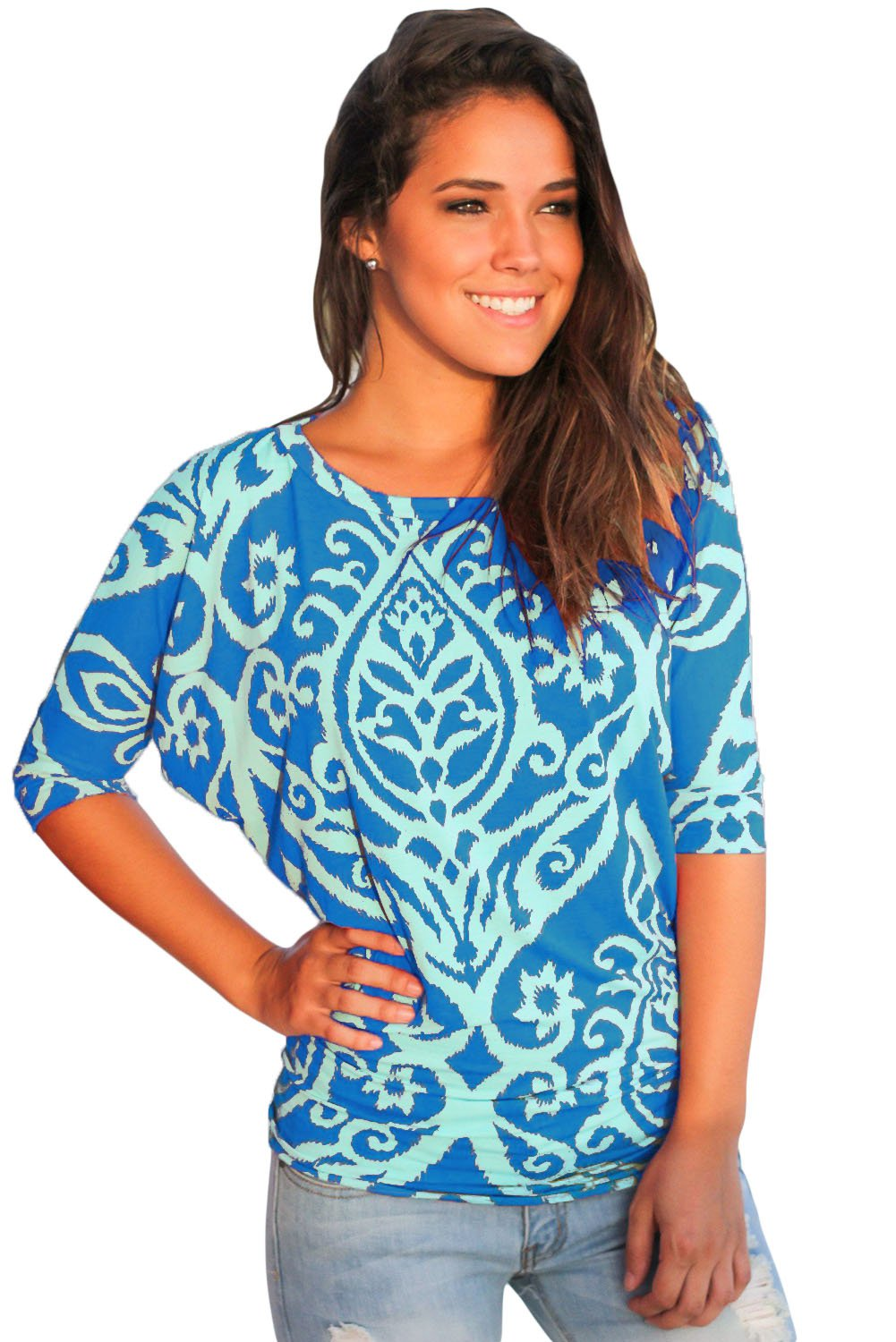 Royal Blue Aqua Damask Print Half Sleeve Top