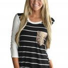 Black White Stripe Sequin Pocket Top
