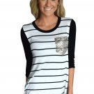White Black Stripe Sequin Pocket Top