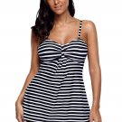 Black White Striped Tankini and Short Set
