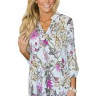 Dusty Blue Magenta Floral Print Slight V Neck Blouse
