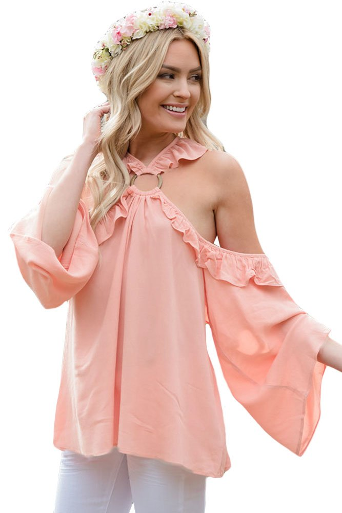 Pink O-ring Connected Ruffle Detail Off Shoulder Top