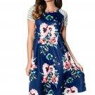 Blue Backdrop Floral Print A-line Loose T-shirt Dress