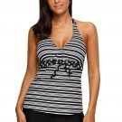 Monochrome V Neck Stripe Print Halter Tankini Swimsuit