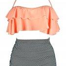 Orange & Zebra Striped Retro Boho Flounce High Waist Swimsuit