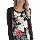 Black Raglan Sleeve Floral Top