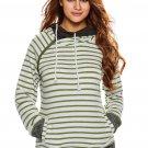 Olive White Stripe Double Hooded Sweatshirt