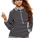 Navy White Stripe Double Hooded Sweatshirt