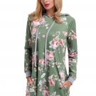 Green Floral Print Drawstring Hoodie Dress