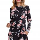 Black Floral Print Drawstring Hoodie Dress