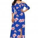 Blue Cold Shoulder Floral Slit Maxi Dress