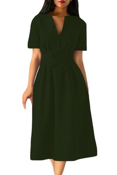 Olive Split Neck Short Sleeve Midi Dress with Bowknots