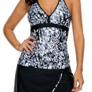 Grey White Spots V-neck Tankini Wrapped Skirt Swimsuit