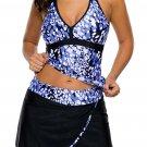 Blue White Spots V-neck Tankini Wrapped Skirt Swimsuit