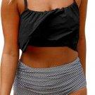 Black Top and Striped Bottom High Waist Swimwear