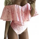 Pink Dreamy Lace Ruffle Off Shoulder Bodysuit