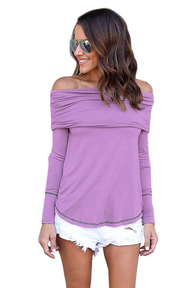 Purple Off The Shoulder Long Sleeve Top